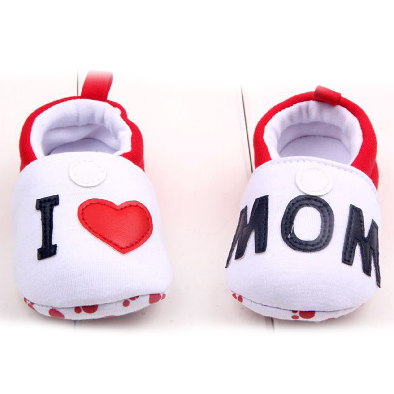 2015 New Fashion Baby Shoes Cotton Cartoon Cute I Love MOM DAD First Walkers For Toddler