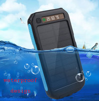 2017 fashion design portable solor power bank 10000 mah capacity waterproof solor power bank for smartphone laptop
