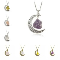 Galaxy Moon Irregular Natural Healing Stone Pendant Necklace Crystals Antique Bronze Silver Chains Jewelry