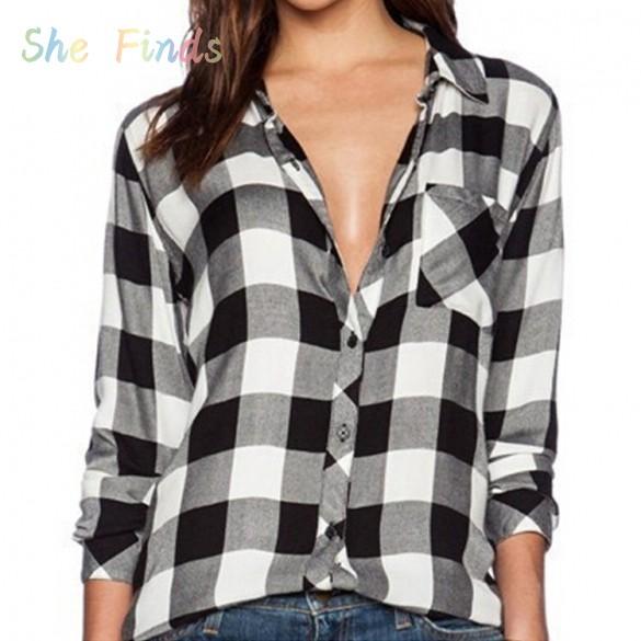 New Fashion Casual Plaid Shirt Women Loose Long Blouse ...