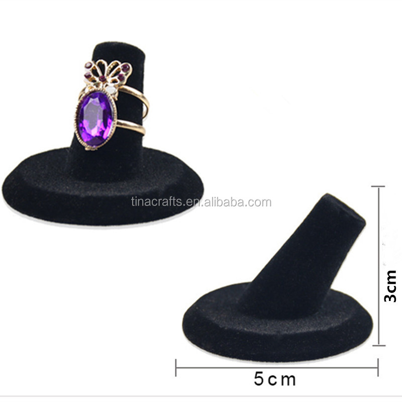 Black Velvet Tip Ring Holder Ring Display Stand Jewelry Stand