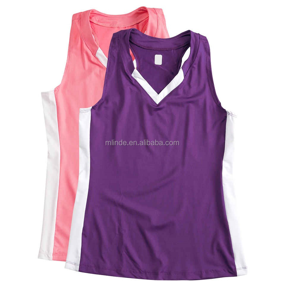 Women Badminton Wear Uniforms Teamwork Ladies Colorblock V Neck Racerback Lacrosse Jersey Designs For Badminton