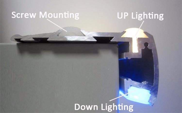 Anti Slip Stair Led Aluminum Profile Stair Lighting Controller Step Profile  Light For Cinema