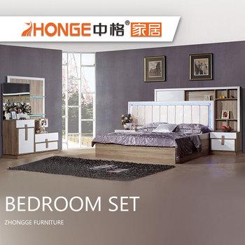 modern white color design storage bed Headboard wooden korean style high  gloss double queen bedroom set, View queen bedroom set, Zhongge Product ...