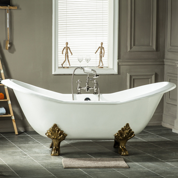 72 Big Size Traditional Double Slipper Cast Iron Clawfoot Tub For