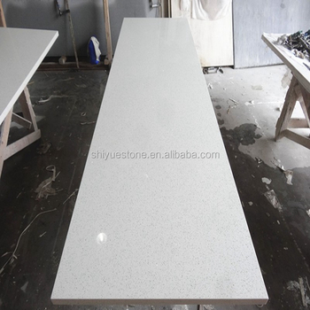 Genial Chinese Artificial White Mirror Fleck Quartz Stone Countertop