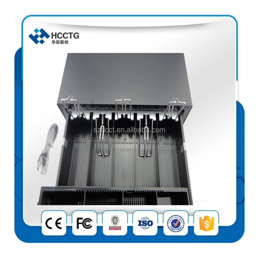 RJ12/RJ11 modern programmable cash drawer with thermal printer for supermarket----HS410E