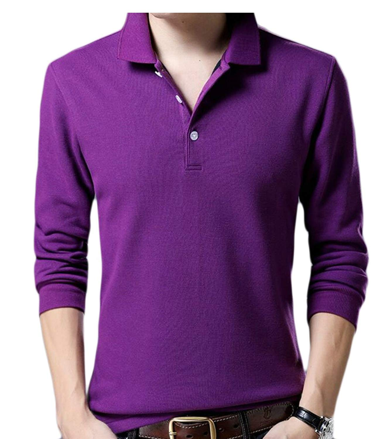 c18eb65e9d54d Get Quotations · WSPLYSPJY Men s Warm Long Sleeve Solid Color Slim Fit Blouse  Tops Shirts Purple L