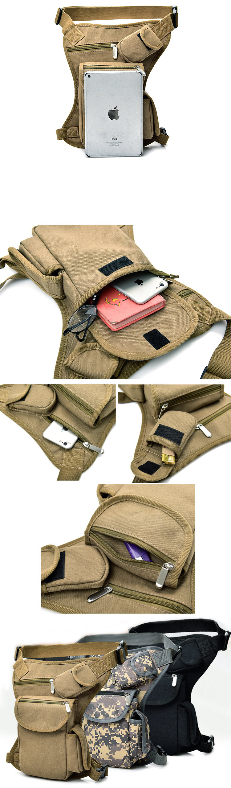 2020 Military Thigh Hip Outdoor Fanny Pack  Drop Motorcycle Bike Tool Pouch Detachable Bottle Holder Tactical Waist Leg Bag