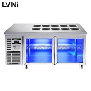 LVNI 1.5m 1.8m 2 glass doors display stainless steel salad bar cooler refrigerator saladette for sale