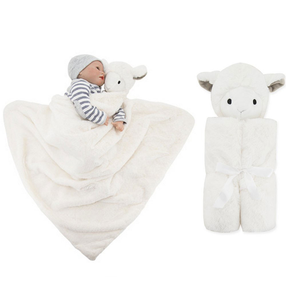 animal head cushion cotton knitted sheep baby blanket for newborn kids