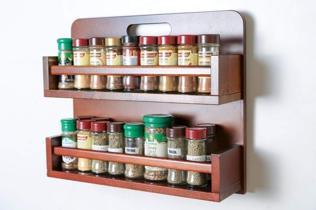 Spice Rack - Wooden - Open Top - 2 Tiers - Timber Rail - 36 Spice Jars