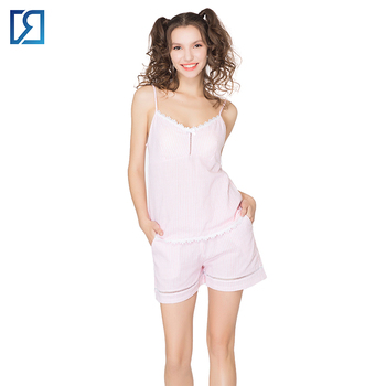 fb94b7a75685 Sexy Striped Lace Summer Slim Sleepwear For Women Mature Hot Pajamas ...