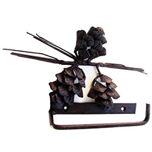 Pine Cone Toilet Paper Holder Wrought Iron Rustic Brown