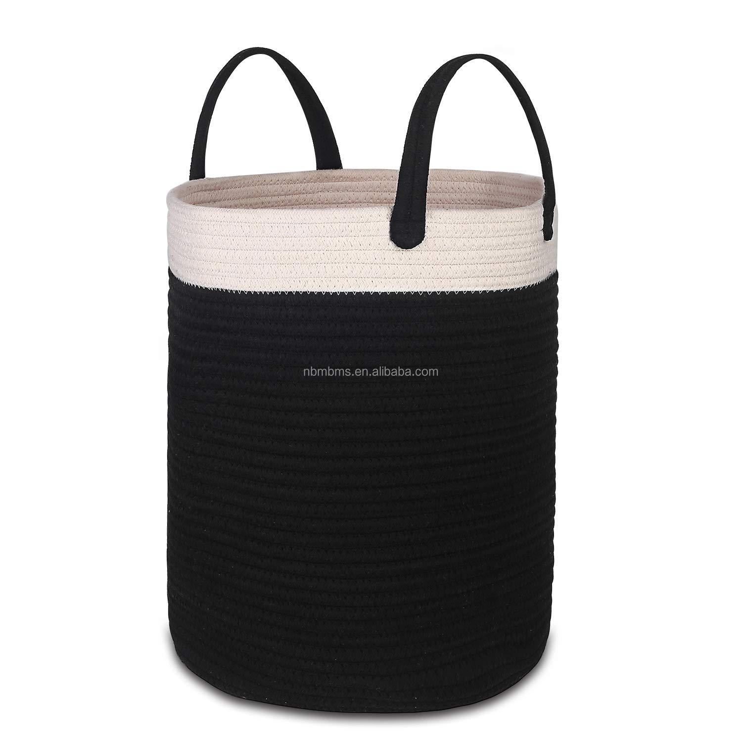 QJMAX Easy Carrying Collapsible Cotton Rope Storage Basket For Bathroom Towel