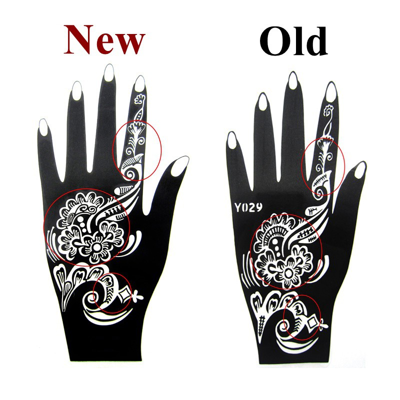 Henna Flower Glitter Airbrush Hand Tattoo Stencil Mehndi Large Templates For Body Paint 20105cm
