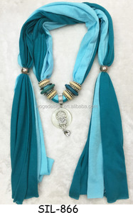 Fashion 2tons colors cotton jersey fabric opal pendant jewellery beautiful girl scarves with wooden ring accessories