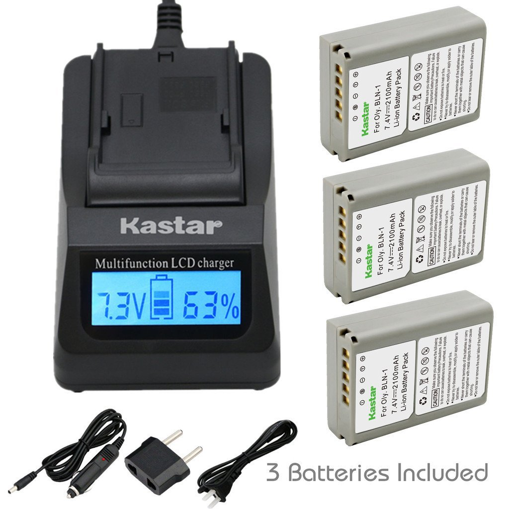 Kastar Ultra Fast Charger(3X faster) Kit and Battery (3-Pack) for Olympus BLN-1, BCN-1, BLN1 and Olympus OM-D E-M1, OM-D E-M5, PEN E-P5 Digital Cameras [Over 3x faster than a normal charger with portable USB charge function]