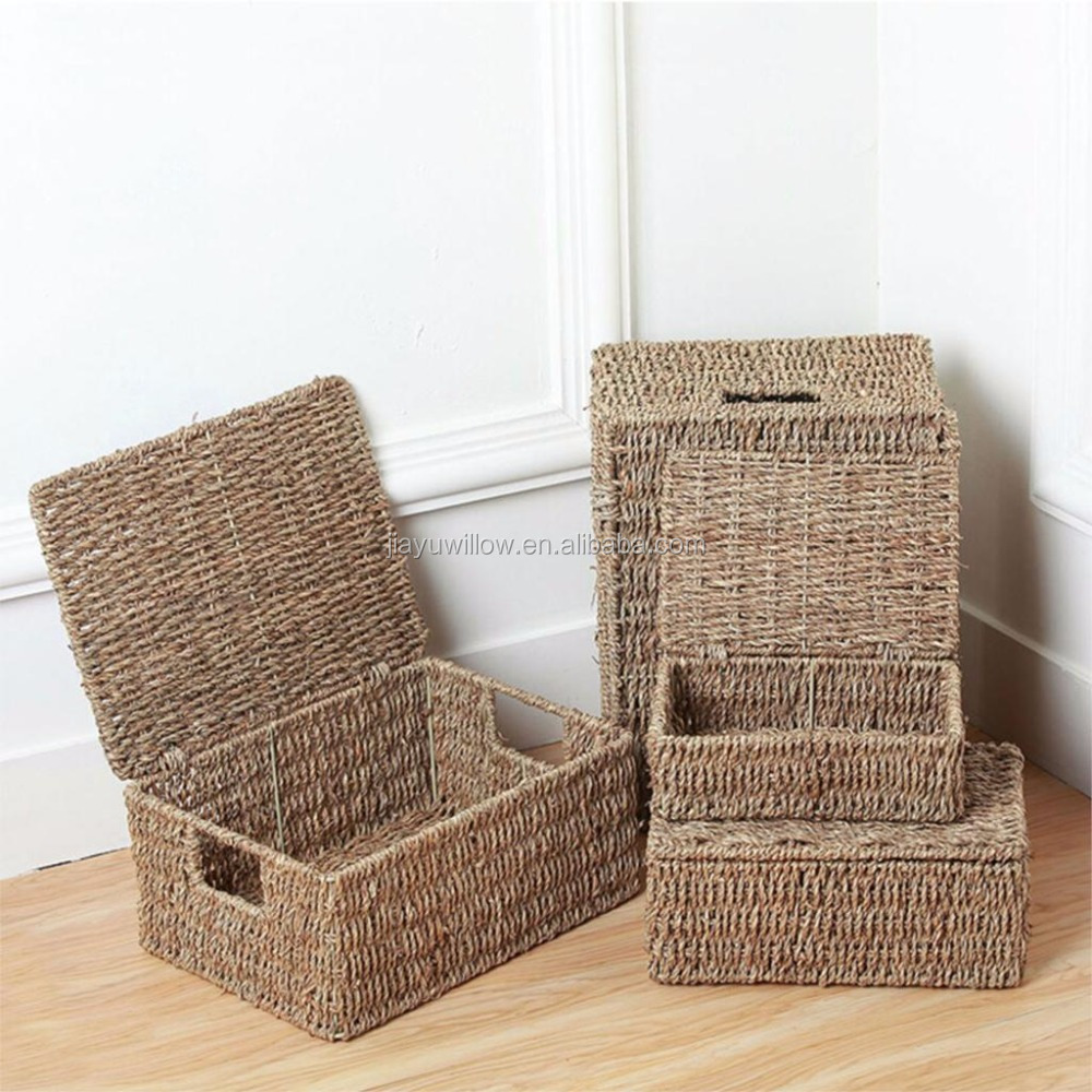 Natural Seagrass Storage Basket With Lid And Handles Sundries