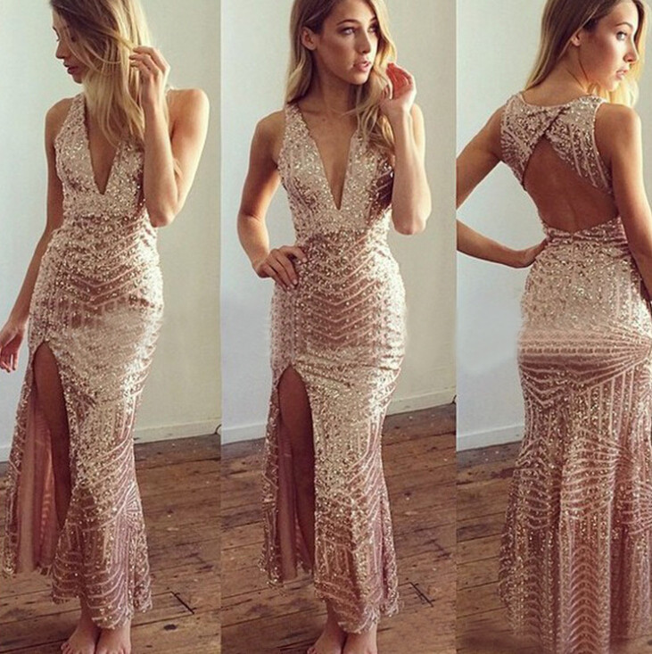 2019 Sexy And Fashion Women Night Dresses Gold Sequined Sleeveless Deep V  Neck Strappy Backed Club Kick Pleat Envelop Hip Bandage Party Dress From ... 5b1b4873bc97