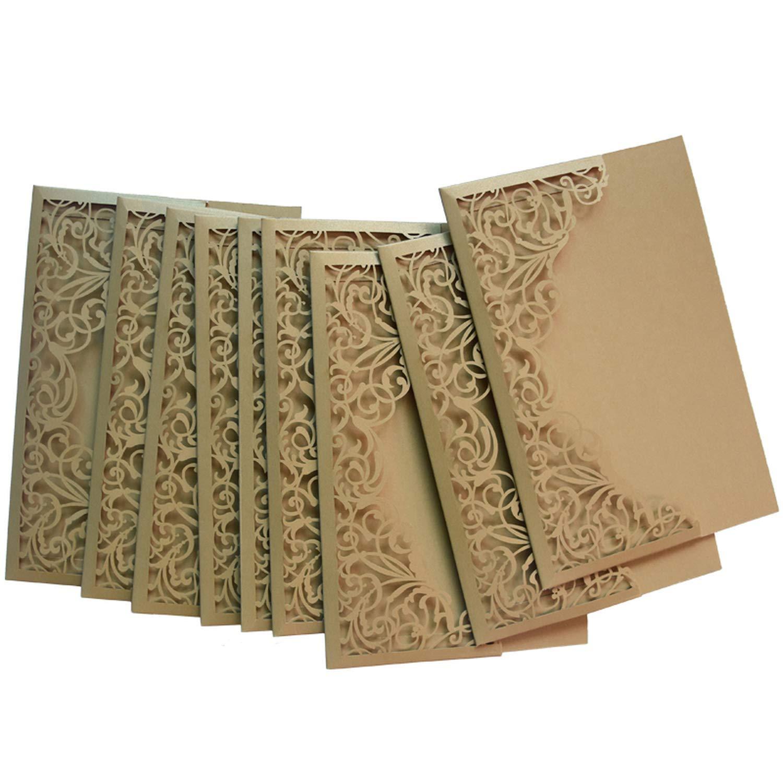 12Pcs/Lot Graceful Laser Cut Florals Shell Pocket Wedding Invitation Card Elegant Gold Invite Cover