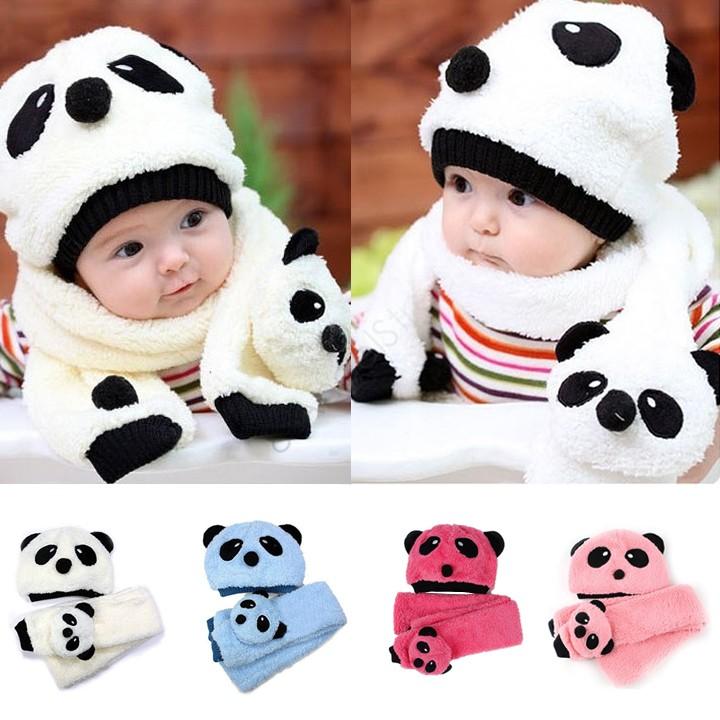 Супер милый и теплый дети шерсть панда крышки матч шарф мультфильм шляпа с шарфом ( 1 компл. = 1 кап 1 шарфом ) быстрая доставка 38