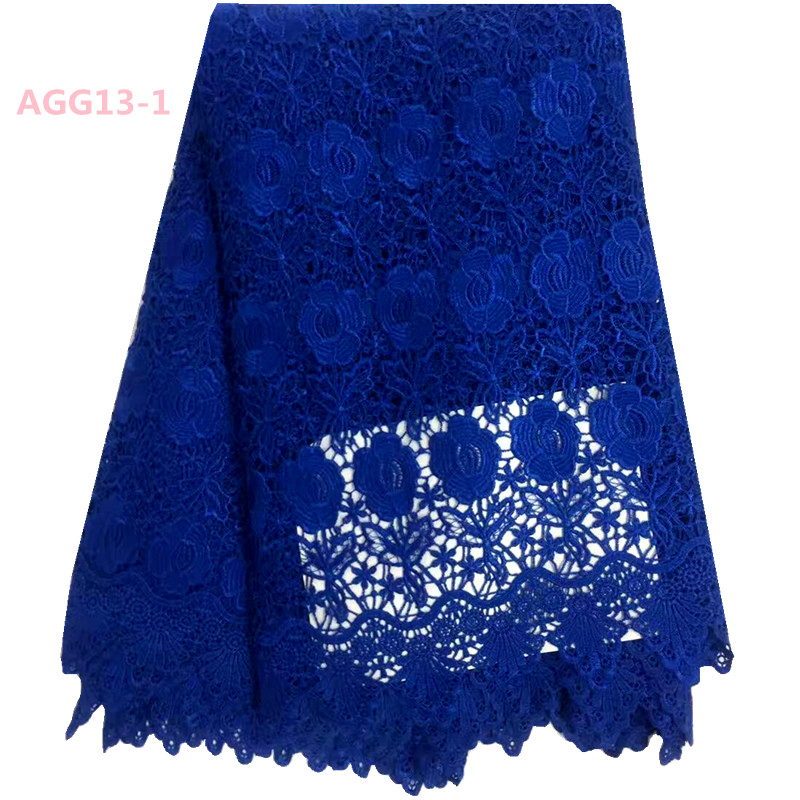 Pure Blue Gorgeous Flowers Embroidery African Style Guipure Cord Lace Fabrics For Party Dresses