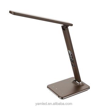 adjustable desk lamp. Professional Production Alarm Clock Desk Lamp Brown Leather Color Temperature Adjustable Reading