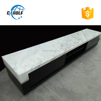 made in china cream marble top black oak mdf tv cabinet