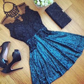 2016 Women Sexy Lace Hollow Dress Summer Style Perspective Dresses O neck Casual Vestidos Fashion Dress