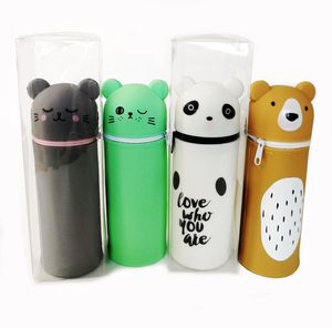 2019 New Large Space Animal Shape Kawaii Multi-Colored Cartoon Pouch Kids Pencil Box Pen Case Silicone Pen Bag