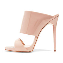 china factory beige patent leather sex women high heel mules