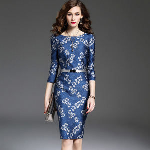 Ladies Evening Knee Length Western Dresses Flower Embroidery Cocktail Party Dress Long Sleeve Latest Women Dresses