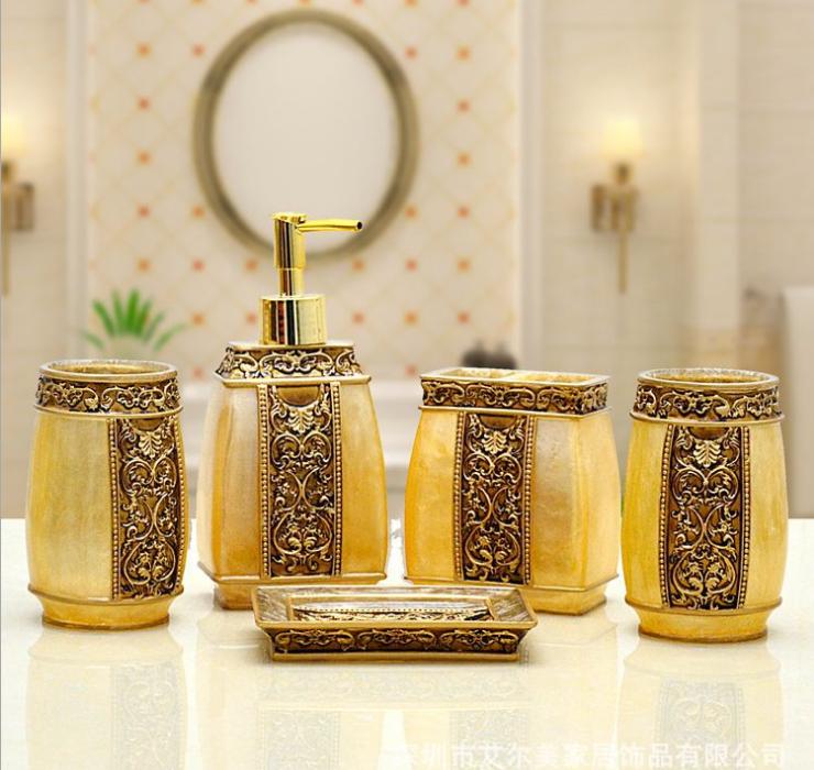 5pcs royal gold decorative resin bathroom set tumbler toothbrush holder soap dish lotion. Black Bedroom Furniture Sets. Home Design Ideas