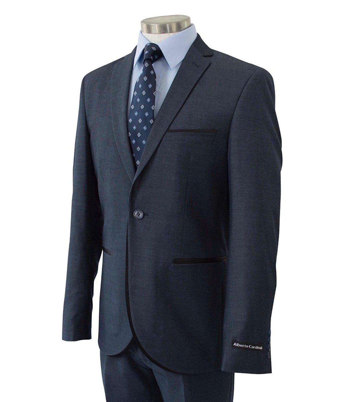 6085d9b10e0 Get Quotations · Alberto Cardinali Men's One Button Slim-Fit Tuxedo Style  Suit w/Black Satin Trim