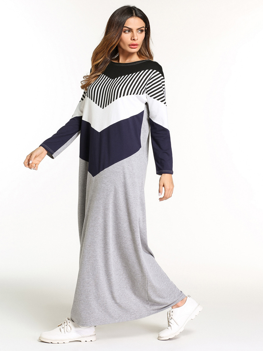 59466f9eb2eb Mideast Europe Ladies Wear Women Casual Plus Size Long Stripe Dresses Loose  O Neck Long Sleeve