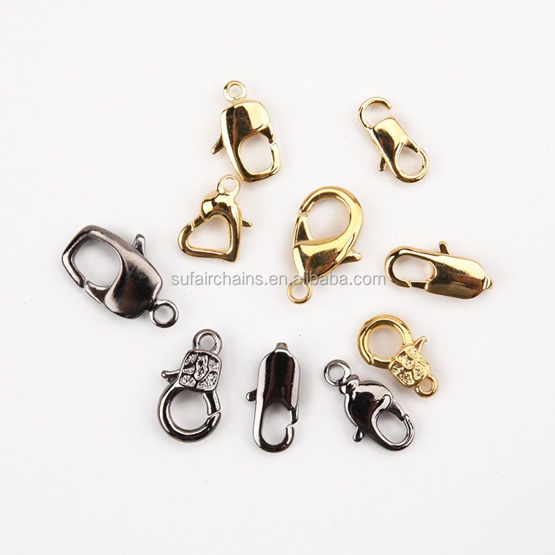 Wholesale various jewelry findings gold plated 10mm lobster claw clasp