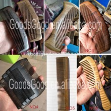 Natural Green Sandalwood Wide Tooth beard comb wood