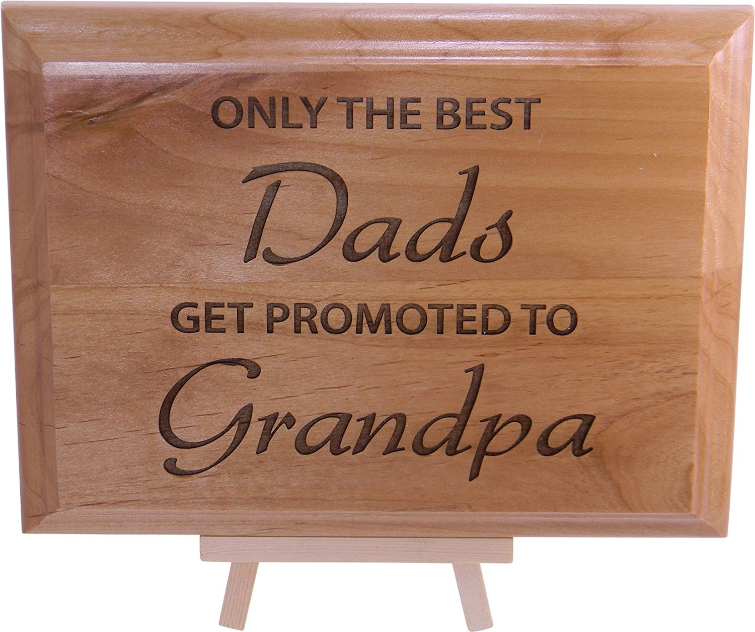 get quotations only the best dads get promoted to grandpa 6x8 in engraved wood plaque and easel - Christmas Presents For Dads