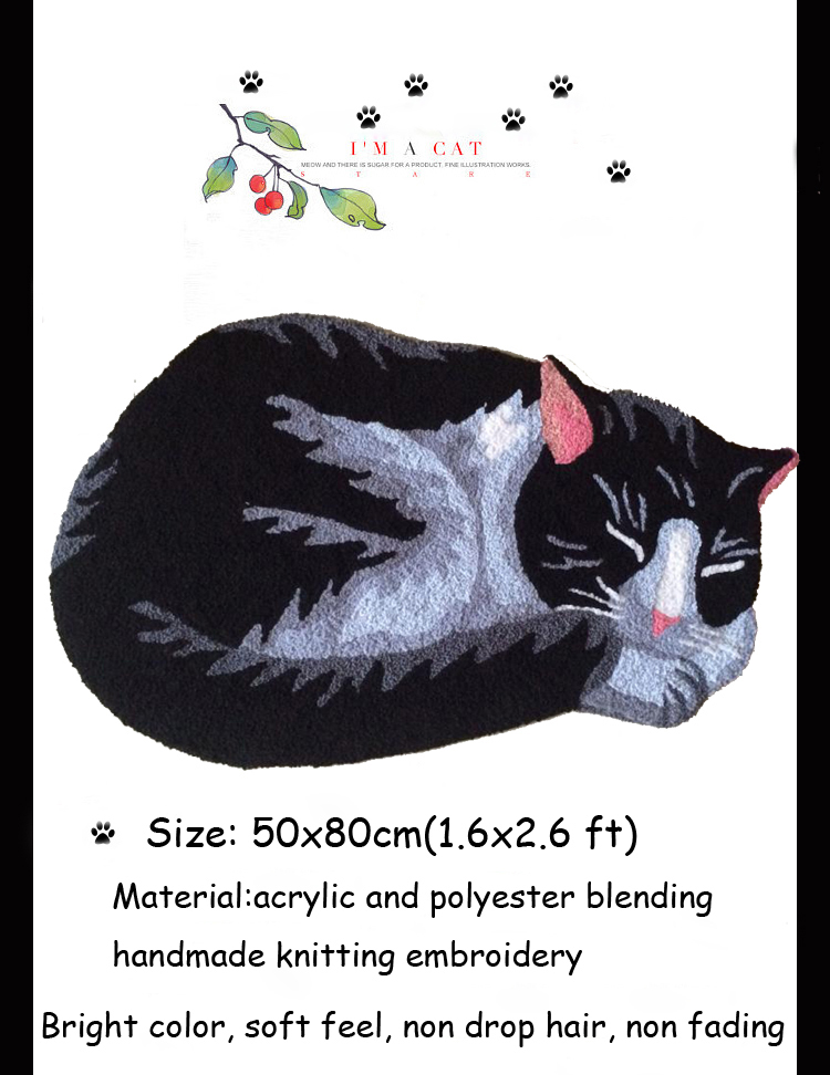 Handmade Knitting Embroidery Cute Black Cats Rug And Carpets Kid