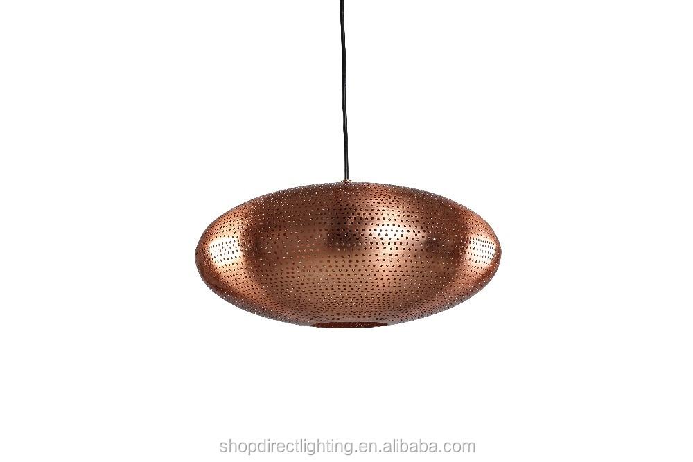 2016 Modern Copper Round Metal E27 60w Pierced Chandelier Pendant ...