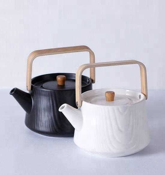 Wholesale embossed moroccan ceramic tea pot with wooden handle