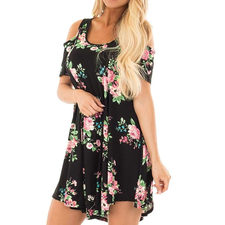 BCDshop Women Floral Short Dress Cold Shoulder Fashion Bohemia Party Beach Mini Dress