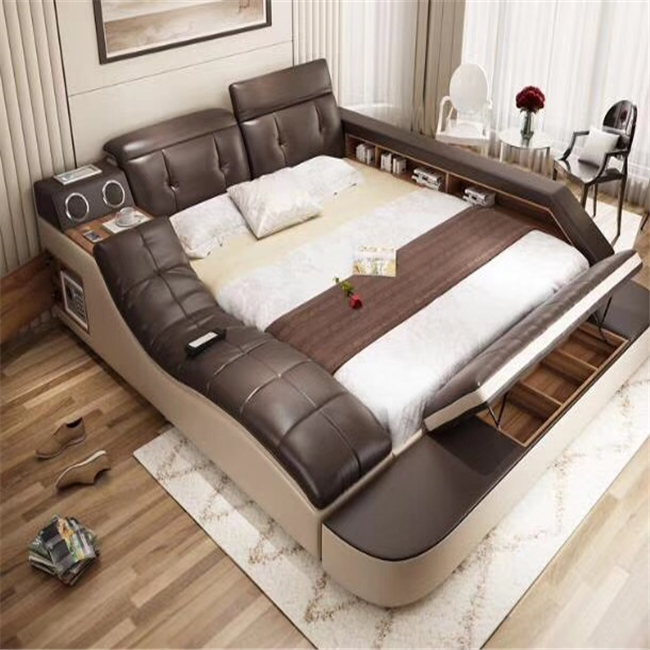 Home furniture high quality leather storage bed for sale