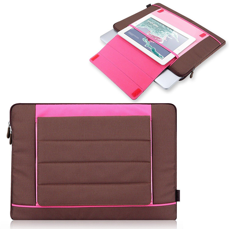 Esme Tri-Fold Nylon Sleeve (Brown / Pink) for 15 Inch MacBook Pro with Retina Display + Pocket for Apple iPad 4 / iPad 3