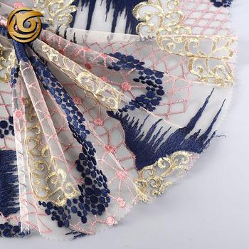 Good price popular polyester embroidery flat lace fabric for party dress