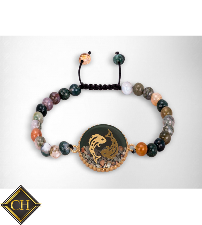 4ce700d9159d Multi color 24 K oro moda Piscis zodiac pulsera Mujer