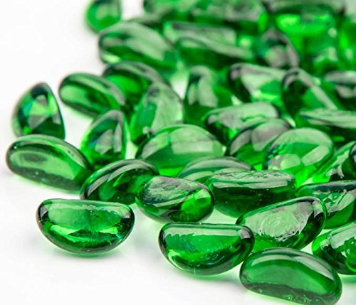 AKOYA Outdoor Essentials 10-Pound Fire Glass Cashew 1-inch Reflective Tempered Crystal Beads for Fire Pit (Emerald Green)