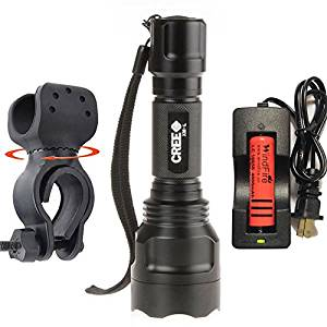 WindFire A Complete Set New Wf-C8 Cree Xm-l T6 U2 LED Flashlight Torch Lamp 1600 Lumens 5 Modes Flashlight Lighting Torch Ultra Bright & Rugged Bike Headlight High-power Cree LED Mountain Bike Headlight, Bicycle Headlight, 18650 Rechargeable Bike Front Light, Cree Bicycle Light (Batteries and
