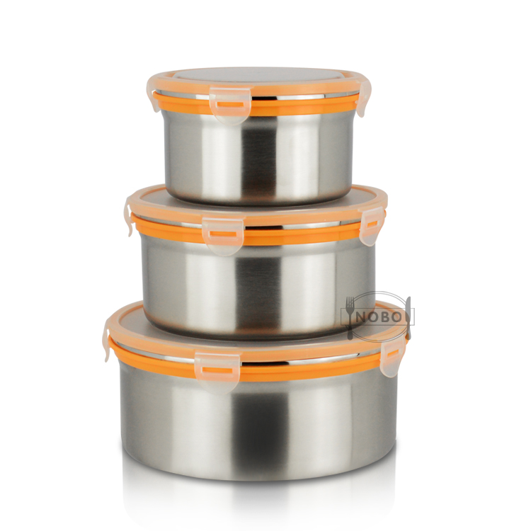 Set of 3 Household Collapsible Metal Custom 304 Stainless Steel Storage Box with Plastic Lock Lid